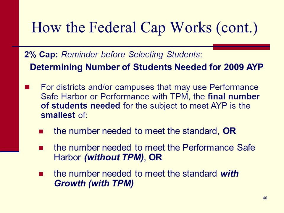 40 How the Federal Cap Works (cont.) 2% Cap: Reminder before Selecting Students: Determining Number of Students Needed for 2009 AYP For districts and/