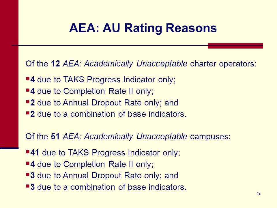 18 2011 AEA Ratings Highlights Accountability Rating AECs of Choice Residential Facilities Total AEA Campuses AEA: Academically Acceptable32964393 AEA