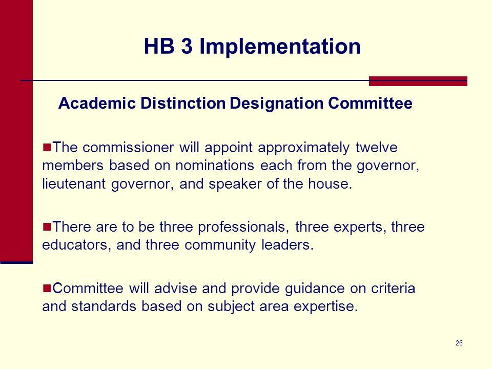HB 3 Implementation Distinction Designation Committees HB 3 requires campus Distinction Designations beginning in 2013.