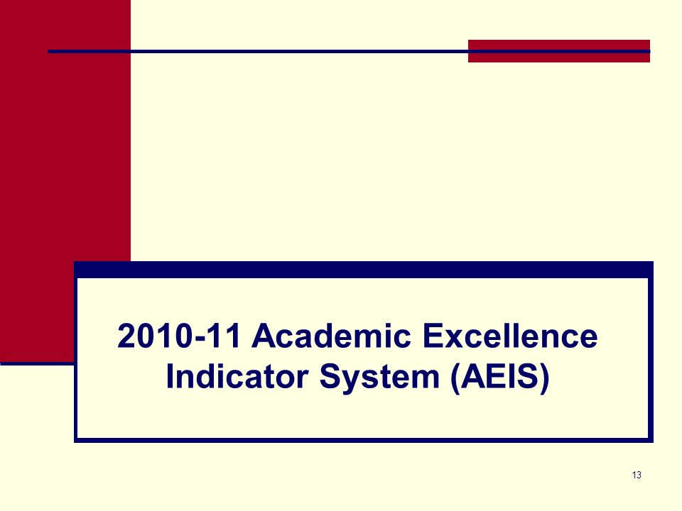 13 2010-11 Academic Excellence Indicator System (AEIS)