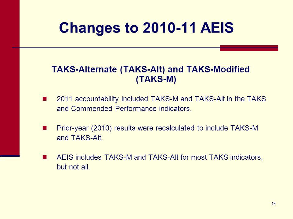 19 Changes to 2010-11 AEIS TAKS-Alternate (TAKS-Alt) and TAKS-Modified (TAKS-M) 2011 accountability included TAKS-M and TAKS-Alt in the TAKS and Commended Performance indicators.