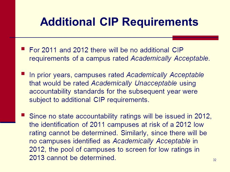 32 Additional CIP Requirements For 2011 and 2012 there will be no additional CIP requirements of a campus rated Academically Acceptable. In prior year