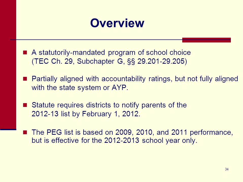 34 Overview A statutorily-mandated program of school choice (TEC Ch.