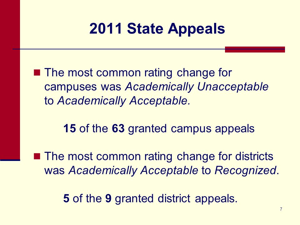 2011 State Appeals The most common rating change for campuses was Academically Unacceptable to Academically Acceptable.