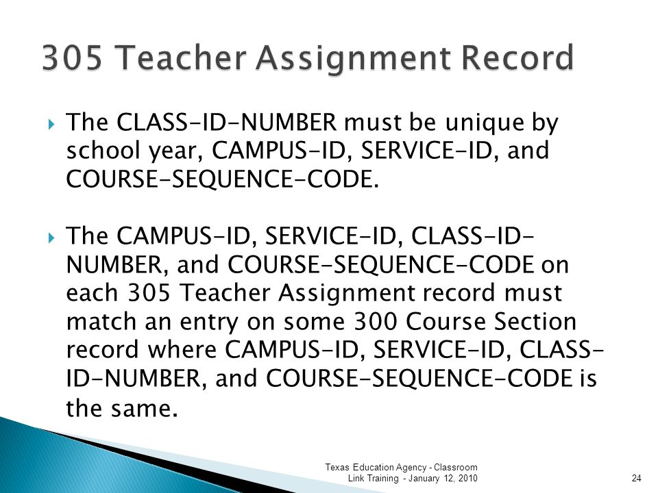The CLASS-ID-NUMBER must be unique by school year, CAMPUS-ID, SERVICE-ID, and COURSE-SEQUENCE-CODE.