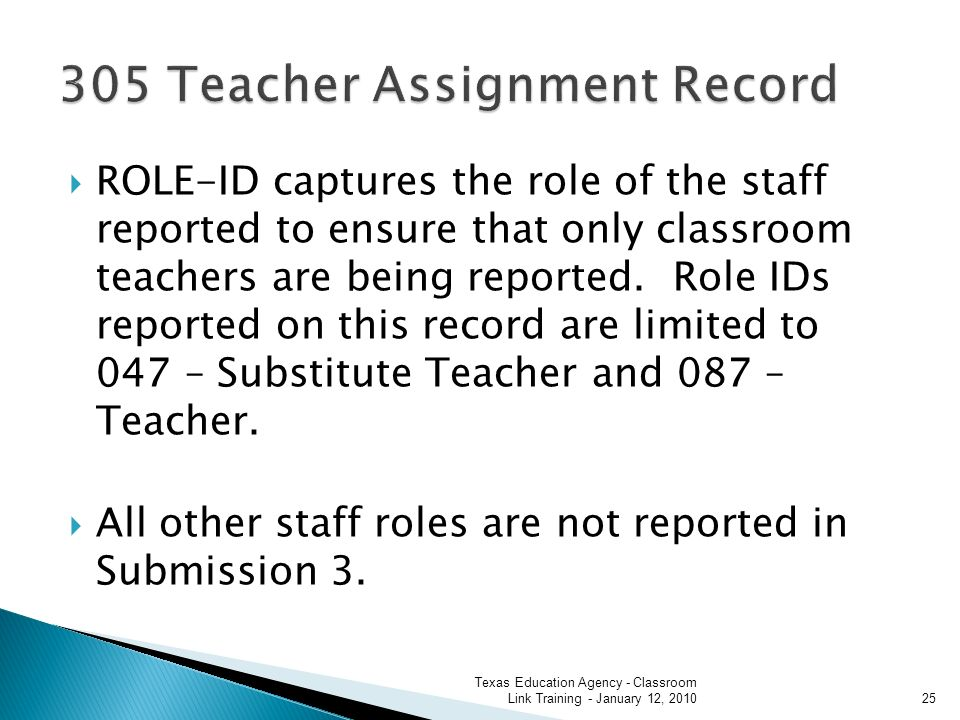 ROLE-ID captures the role of the staff reported to ensure that only classroom teachers are being reported.