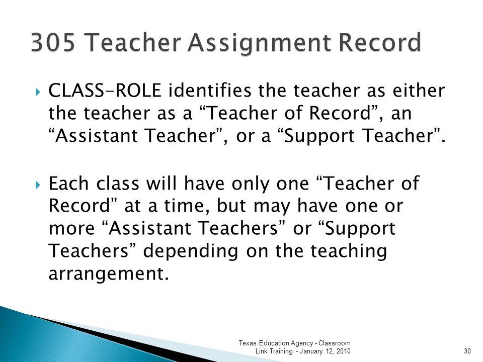 CLASS-ROLE identifies the teacher as either the teacher as a Teacher of Record, an Assistant Teacher, or a Support Teacher.