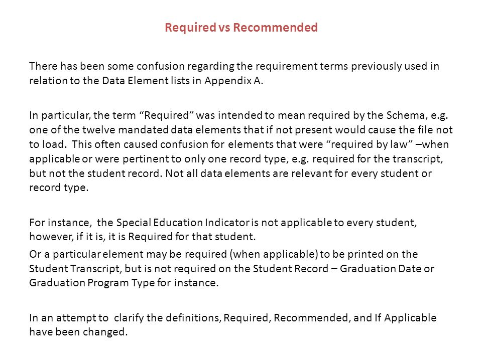 Required vs Recommended There has been some confusion regarding the requirement terms previously used in relation to the Data Element lists in Appendix A.