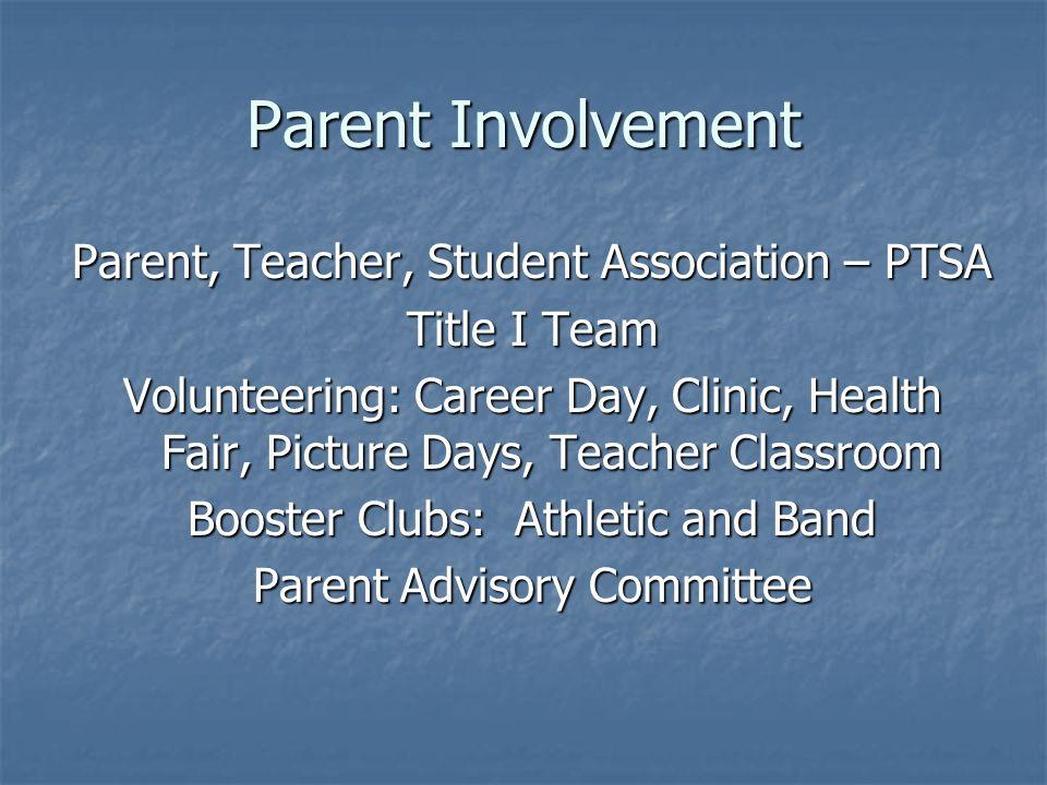 Parent Involvement Parent, Teacher, Student Association – PTSA Title I Team Volunteering: Career Day, Clinic, Health Fair, Picture Days, Teacher Class