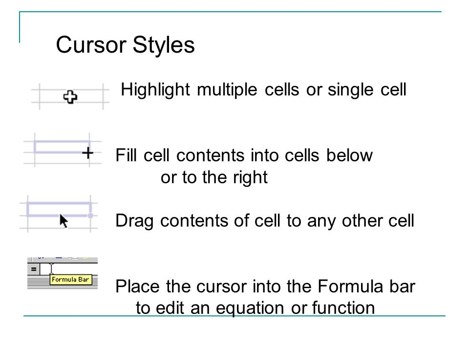 Highlight multiple cells or single cell Fill cell contents into cells below or to the right Drag contents of cell to any other cell Place the cursor i