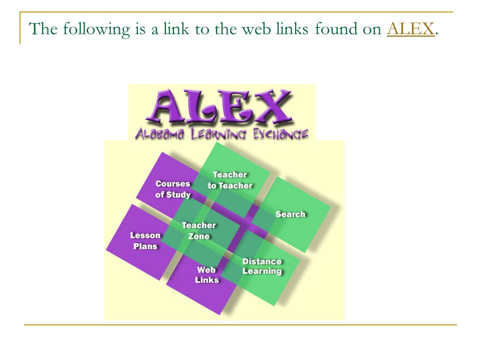 The following is a link to the web links found on ALEX.ALEX