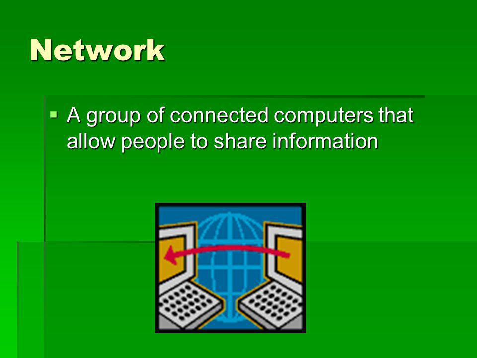 Network A group of connected computers that allow people to share information A group of connected computers that allow people to share information