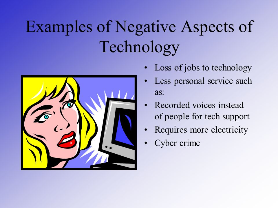 Examples of Negative Aspects of Technology Loss of jobs to technology Less personal service such as: Recorded voices instead of people for tech support Requires more electricity Cyber crime