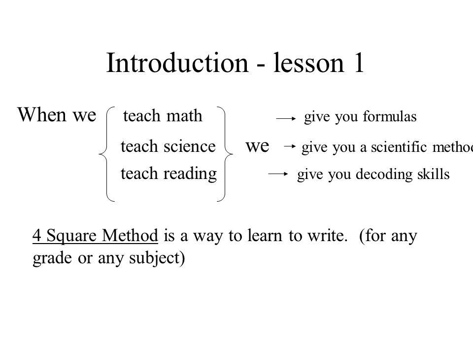 4 Square Method can be used for all types of writing: –Narrative –Descriptive –Expository –Persuasive