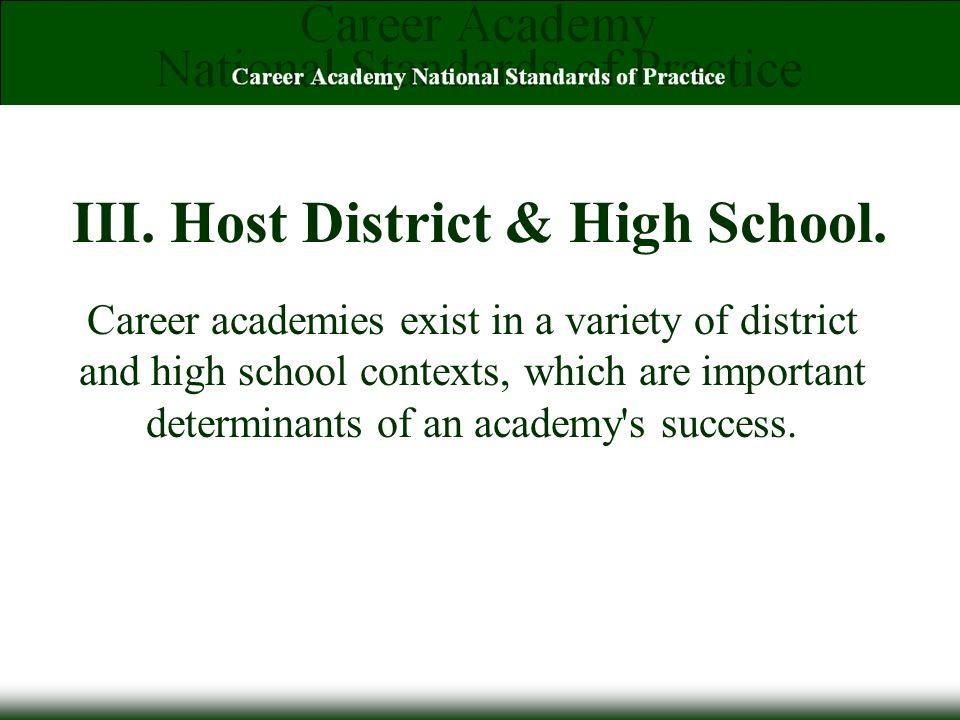 III. Host District & High School.