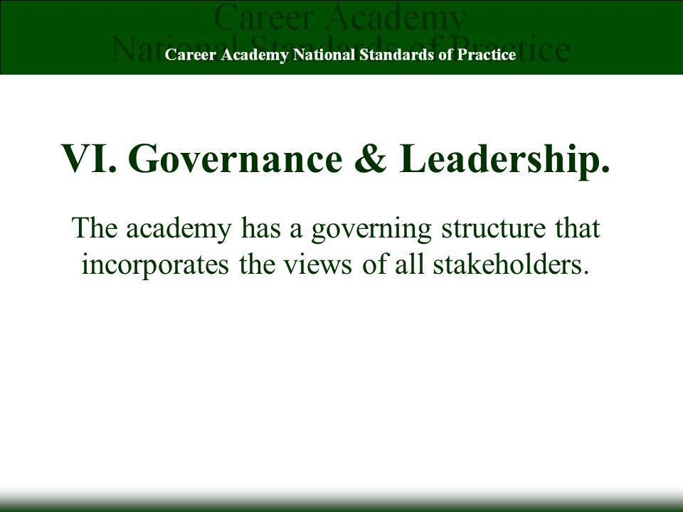 VI. Governance & Leadership.