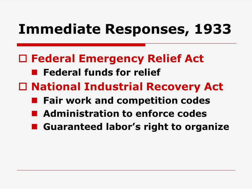 Immediate Responses, 1933 Federal Emergency Relief Act Federal funds for relief National Industrial Recovery Act Fair work and competition codes Admin