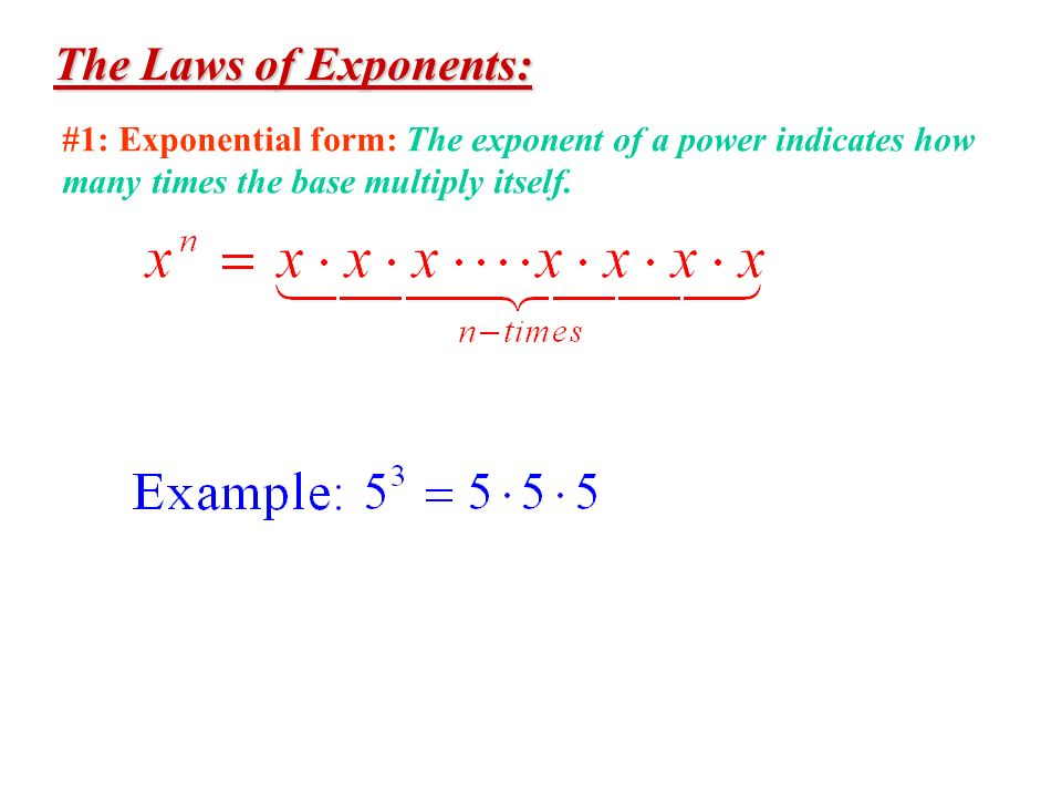 The Laws of Exponents: #1: Exponential form: The exponent of a power indicates how many times the base multiply itself.