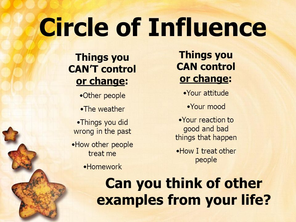 Things you CANT control or change: Other people The weather Things you did wrong in the past How other people treat me Homework Circle of Influence Th