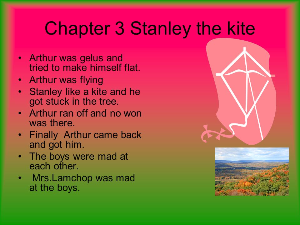 Chapter 3 Stanley the kite Arthur was gelus and tried to make himself flat. Arthur was flying Stanley like a kite and he got stuck in the tree. Arthur