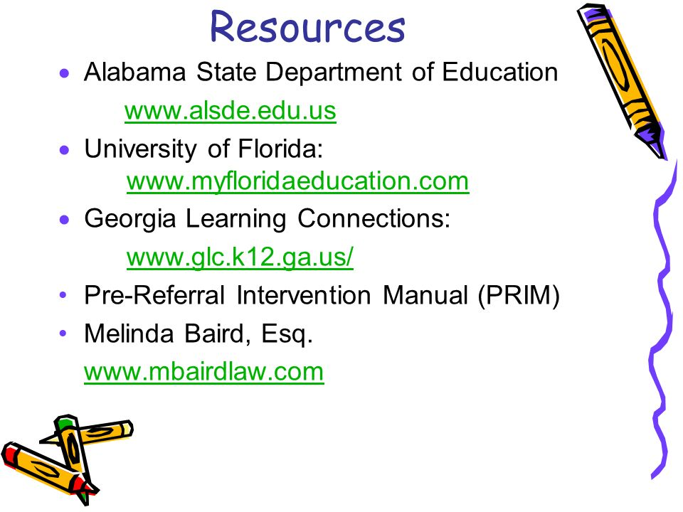 Resources Alabama State Department of Education www.alsde.edu.us University of Florida: www.myfloridaeducation.com www.myfloridaeducation.com Georgia