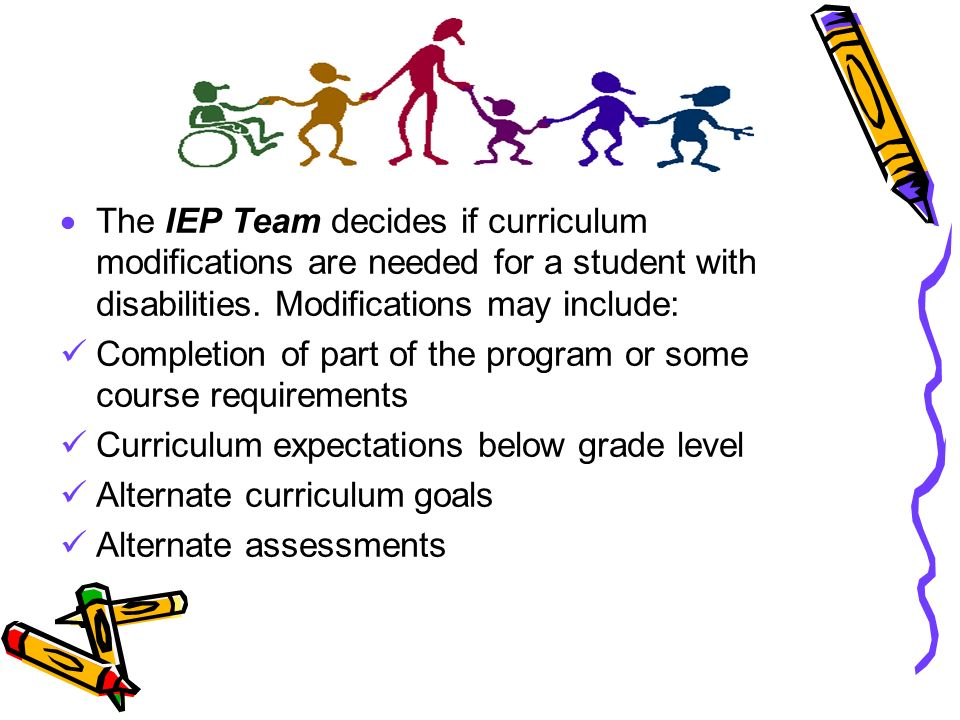 The IEP Team decides if curriculum modifications are needed for a student with disabilities. Modifications may include: Completion of part of the prog
