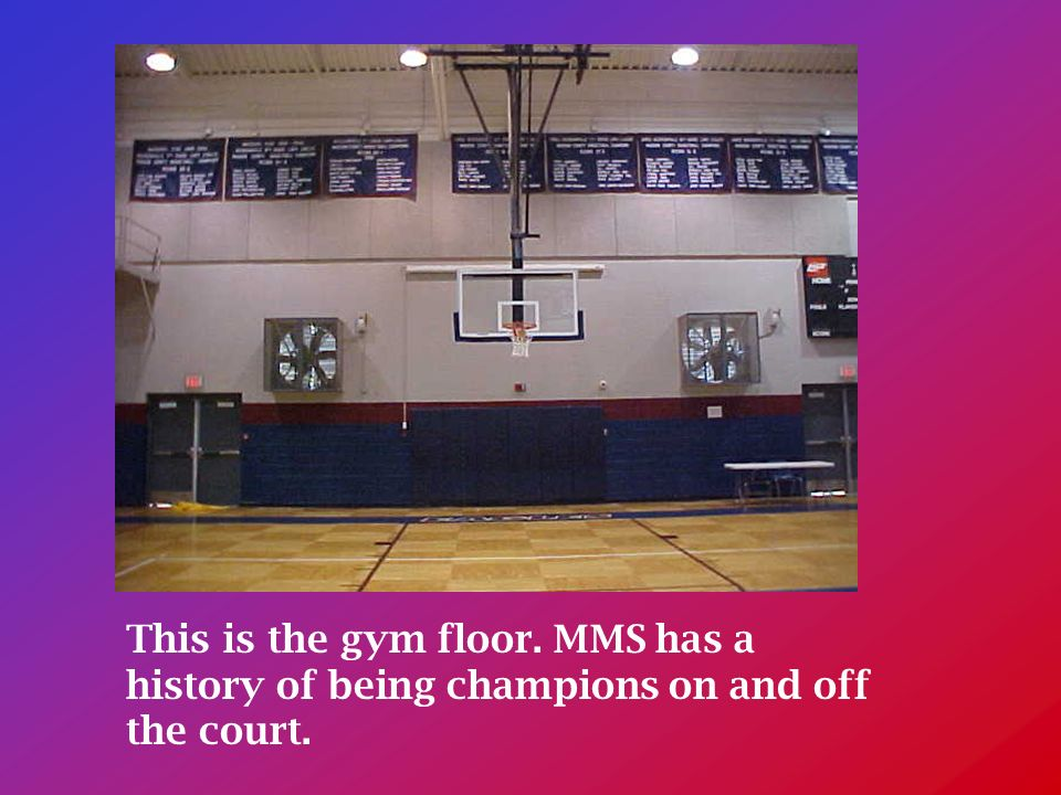 This is the gym floor. MMS has a history of being champions on and off the court.