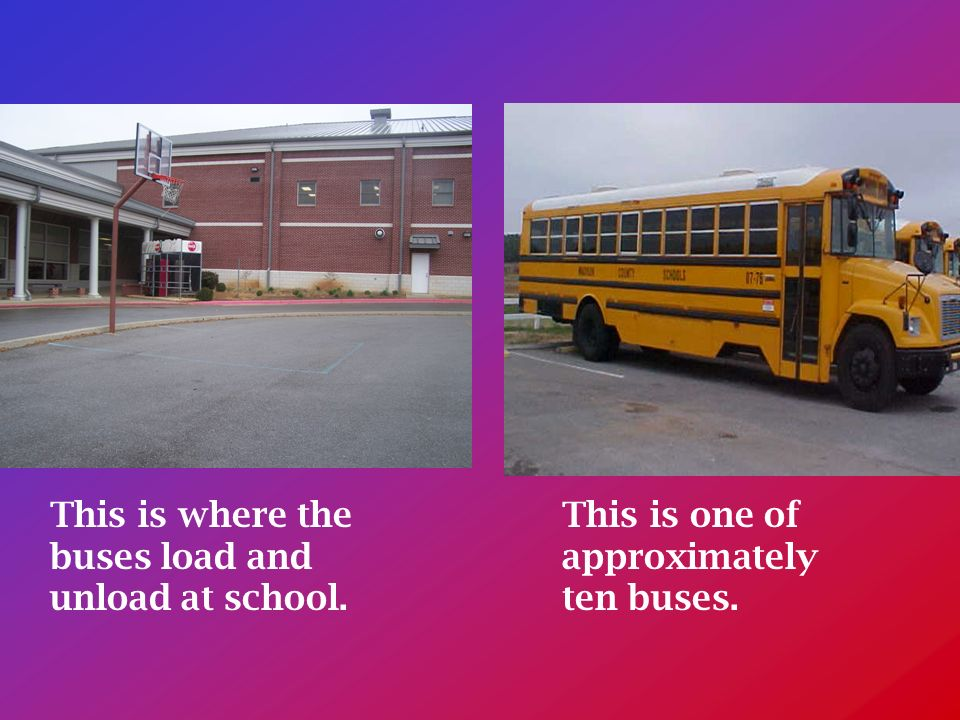 This is where the buses load and unload at school. This is one of approximately ten buses.