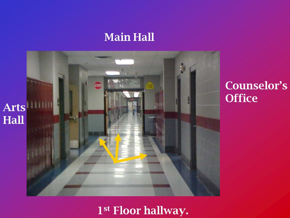1 st Floor hallway. Counselors Office Main Hall Arts Hall