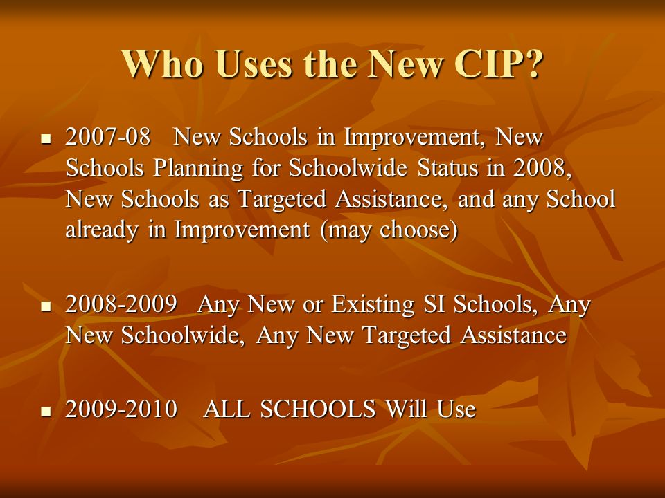 Who Uses the New CIP? 2007-08New Schools in Improvement, New Schools Planning for Schoolwide Status in 2008, New Schools as Targeted Assistance, and a