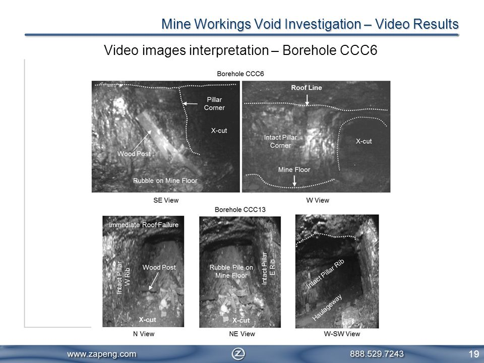 19 Video images interpretation – Borehole CCC6 Mine Workings Void Investigation – Video Results