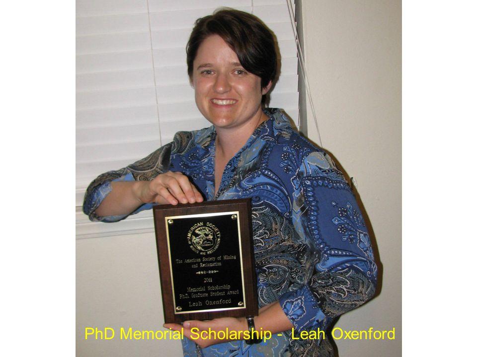 PhD Memorial Scholarship - Leah Oxenford