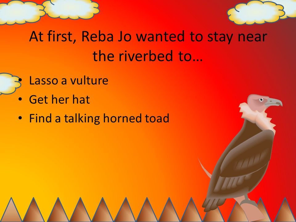 What happened right before the horned toad spoke to Reba Jo.