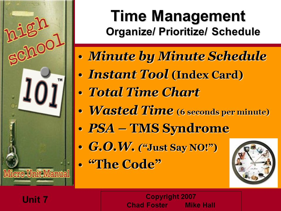 Copyright 2007 Chad Foster Mike Hall Time Management Organize/ Prioritize/ Schedule Minute by Minute ScheduleMinute by Minute Schedule Instant Tool (I