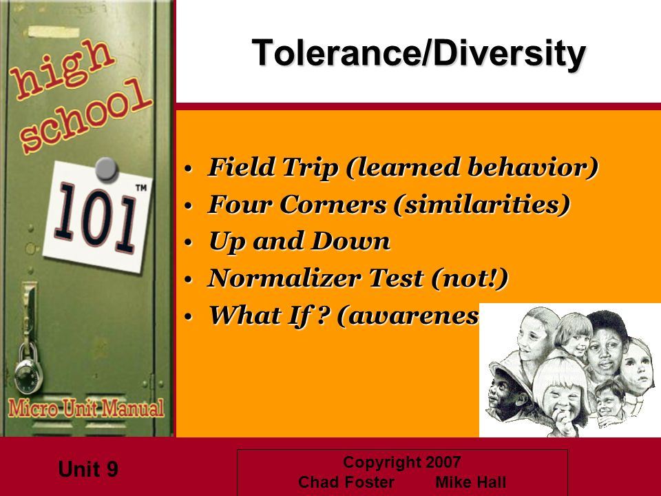 Copyright 2007 Chad Foster Mike HallTolerance/Diversity Field Trip (learned behavior)Field Trip (learned behavior) Four Corners (similarities)Four Cor