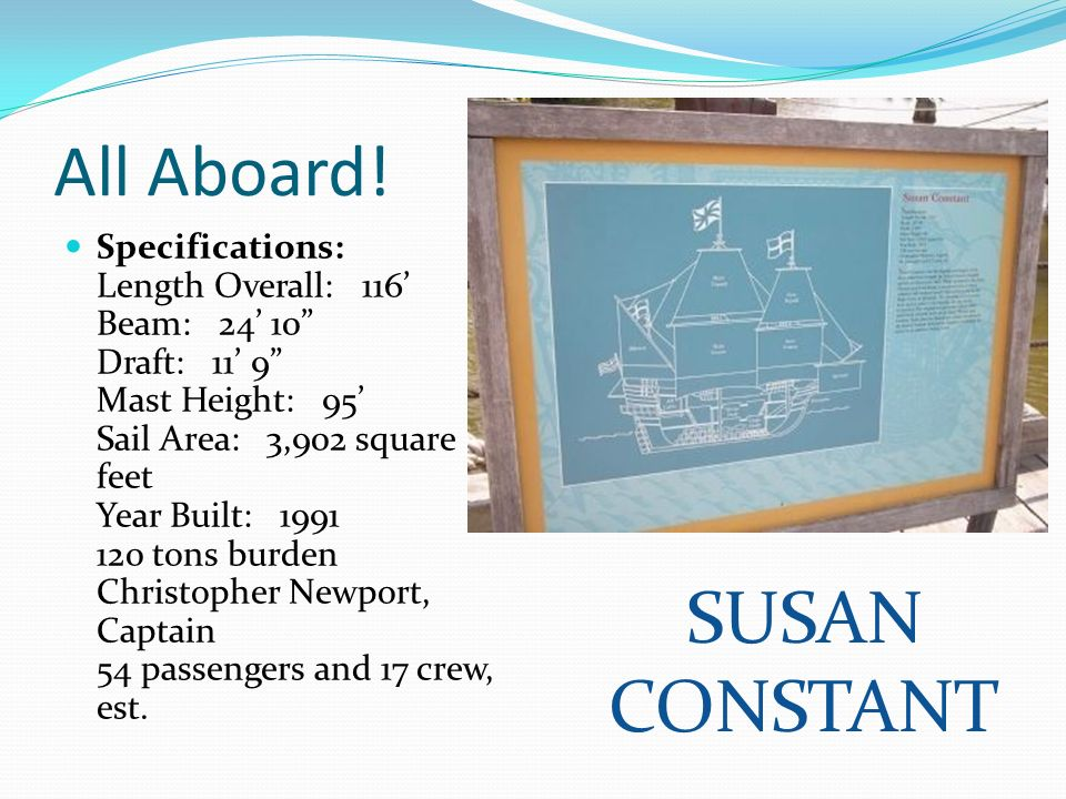 All Aboard! Specifications: Length Overall: 116 Beam: 24 10 Draft: 11 9 Mast Height: 95 Sail Area: 3,902 square feet Year Built: 1991 120 tons burden