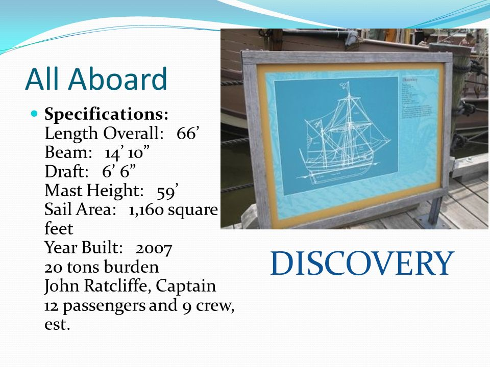 All Aboard Specifications: Length Overall: 66 Beam: 14 10 Draft: 6 6 Mast Height: 59 Sail Area: 1,160 square feet Year Built: 2007 20 tons burden John