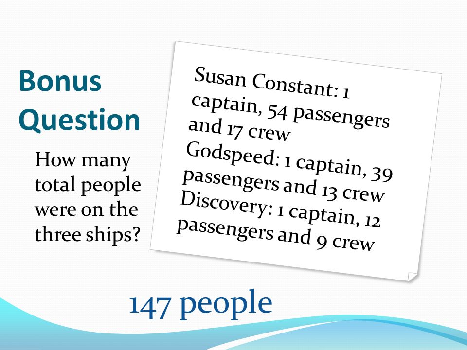 Bonus Question How many total people were on the three ships? Susan Constant: 1 captain, 54 passengers and 17 crew Godspeed: 1 captain, 39 passengers