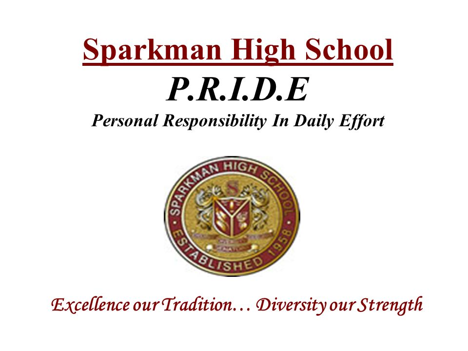 Sparkman High School P.R.I.D.E Personal Responsibility In Daily Effort Excellence our Tradition… Diversity our Strength