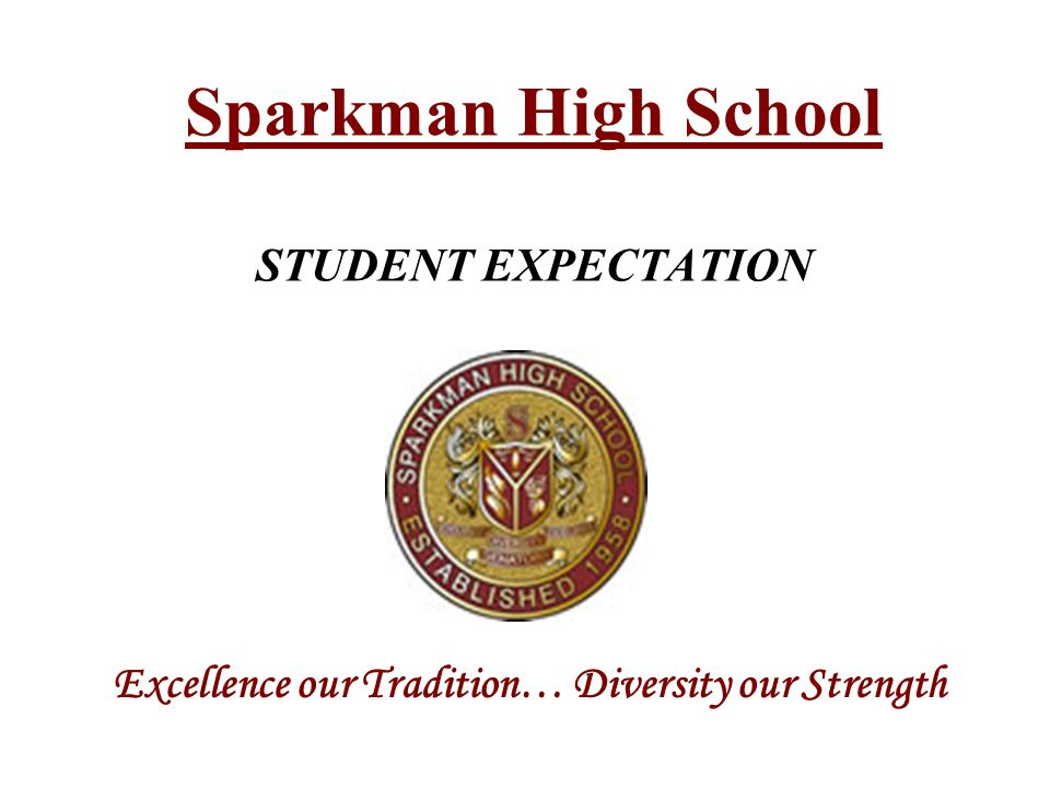 Sparkman High School STUDENT EXPECTATION Excellence our Tradition… Diversity our Strength