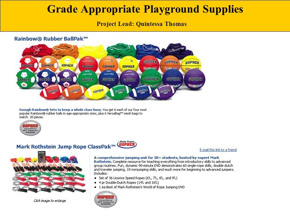 Grade Appropriate Playground Supplies Project Lead: Quintessa Thomas