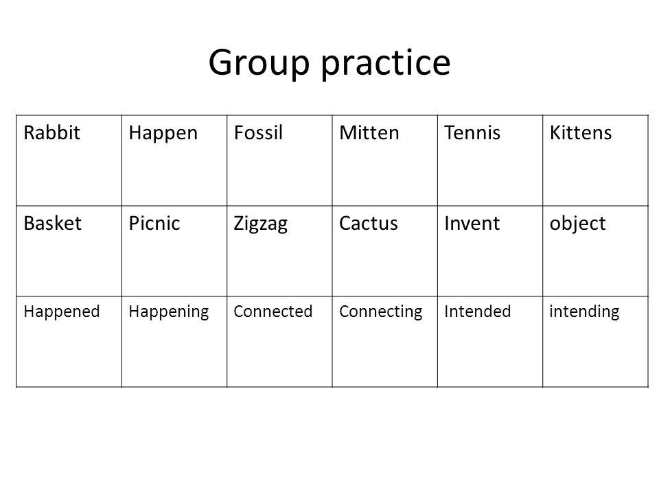Group practice RabbitHappenFossilMittenTennisKittens BasketPicnicZigzagCactusInventobject HappenedHappeningConnectedConnectingIntendedintending