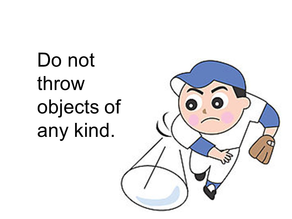 Do not throw objects of any kind.