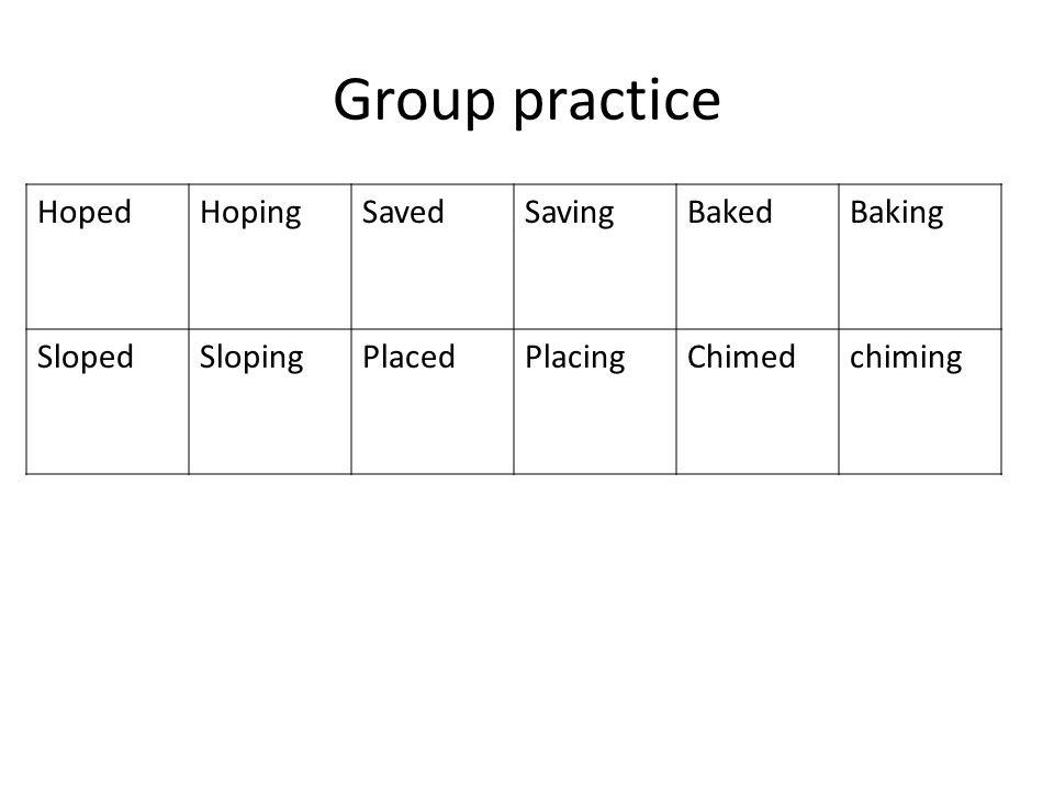 Group practice HopedHopingSavedSavingBakedBaking SlopedSlopingPlacedPlacingChimedchiming