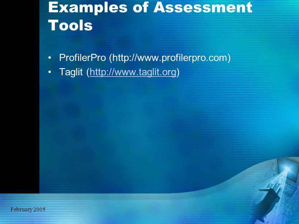 February 2005 Examples of Assessment Tools ProfilerPro (http://www.profilerpro.com) Taglit (http://www.taglit.org)http://www.taglit.org