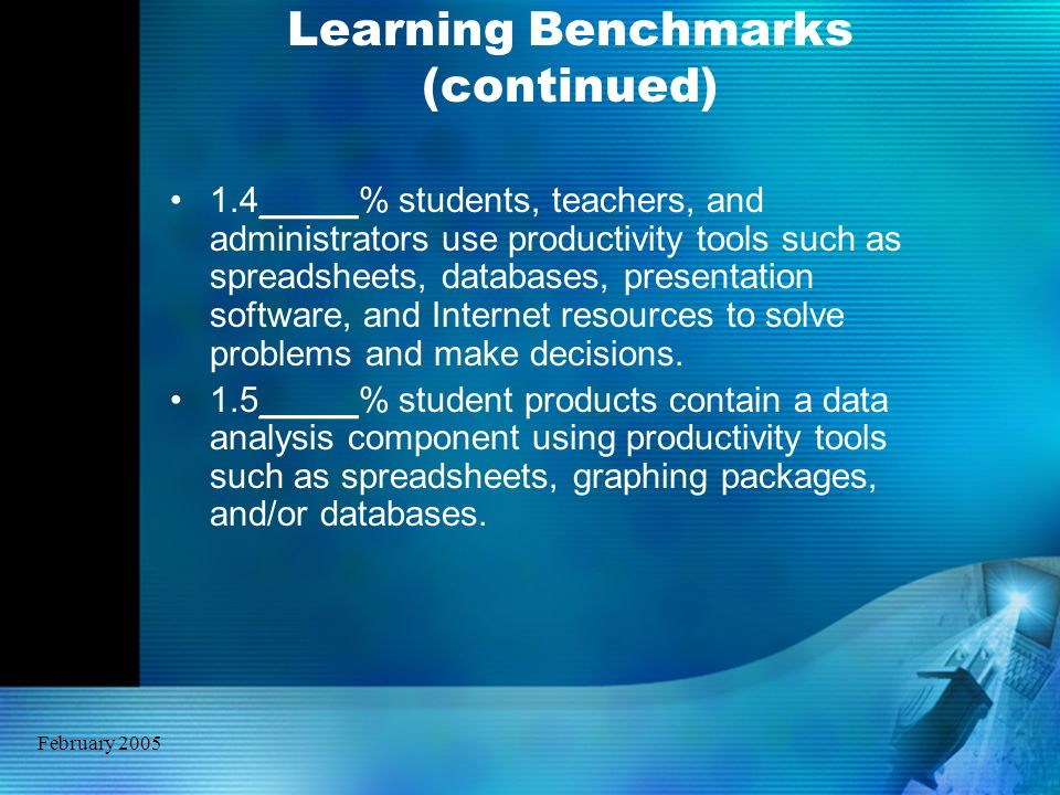 February 2005 Learning Benchmarks (continued) 1.4_____% students, teachers, and administrators use productivity tools such as spreadsheets, databases,
