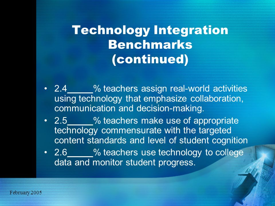 February 2005 Technology Integration Benchmarks (continued) 2.4_____% teachers assign real-world activities using technology that emphasize collaborat