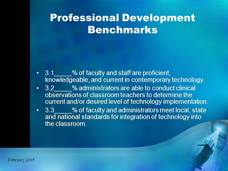 February 2005 Professional Development Benchmarks 3.1_____% of faculty and staff are proficient, knowledgeable, and current in contemporary technology