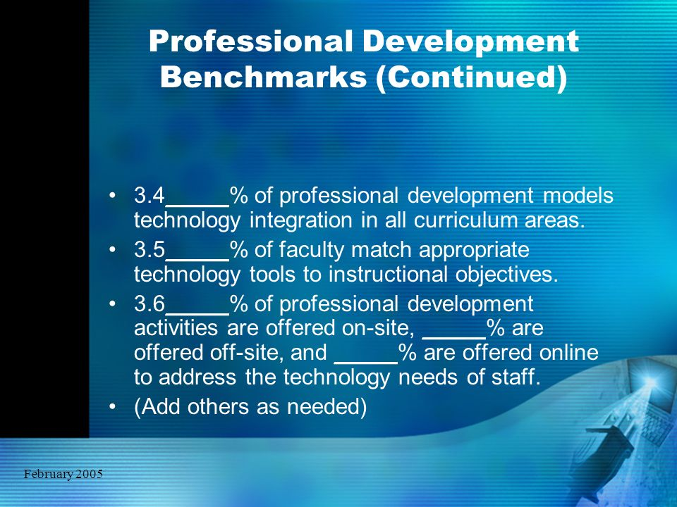 February 2005 Professional Development Benchmarks (Continued) 3.4_____% of professional development models technology integration in all curriculum ar