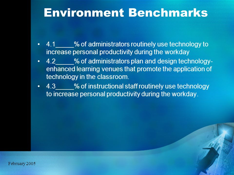 February 2005 Environment Benchmarks 4.1_____% of administrators routinely use technology to increase personal productivity during the workday 4.2____